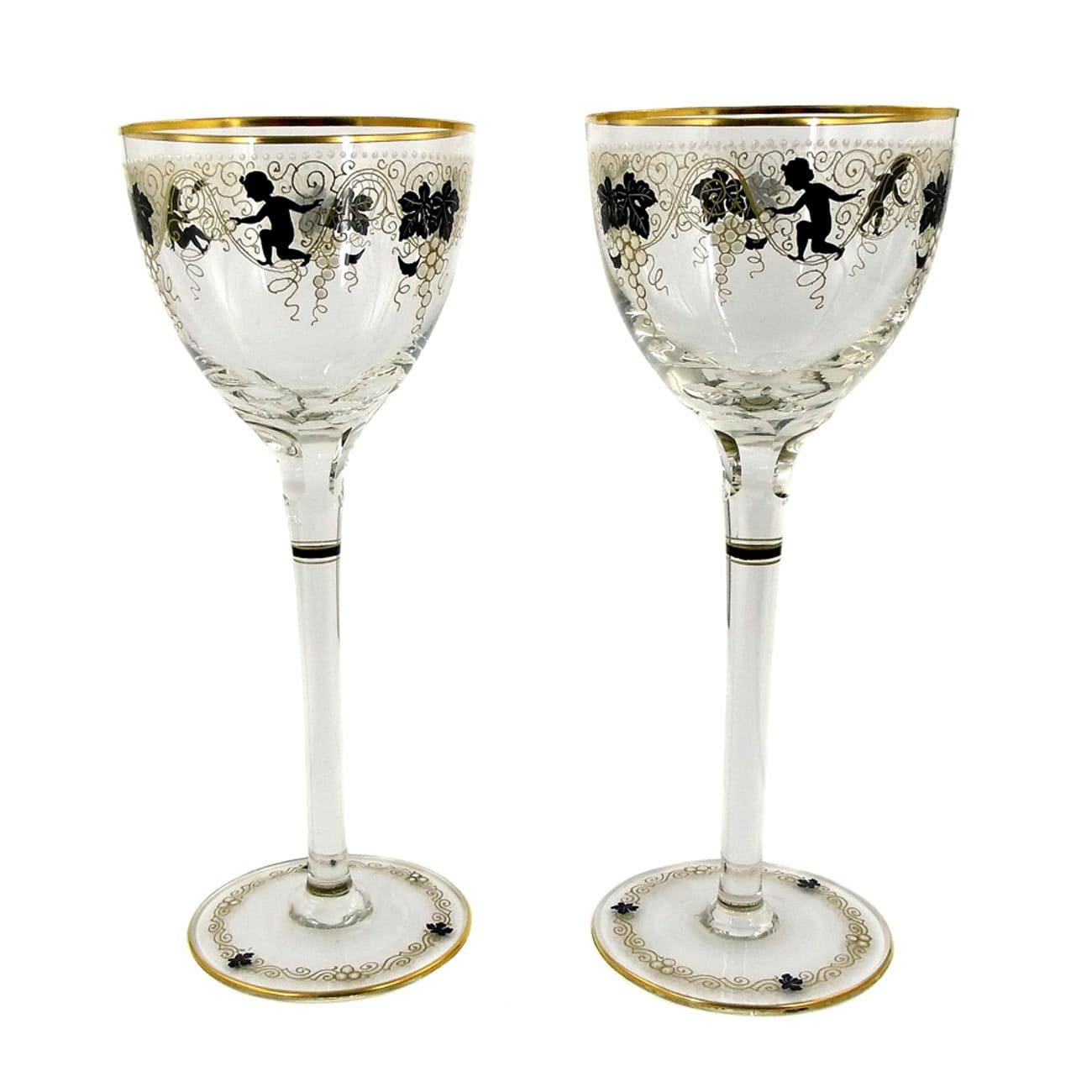 1 of 2 Stem glasses with gold and enamel painting, Josephine