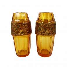 A pair of vases, Fipop series, Moser Karlsbad signed by 192