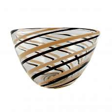 Bowl with spiral color melts, school of glass, Orrefors, sign.