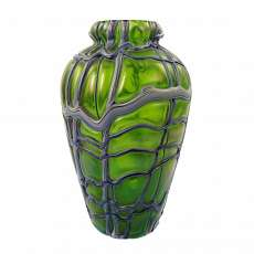 Art Nouveau vase of green glass and blue-white glass threads. factory Elisabeth