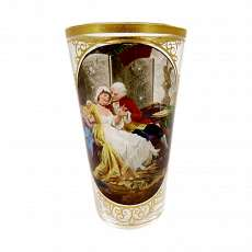 Champagne cup with colorful painted enamel and gold decorati