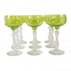 1. of 9. Wine glasses with light green Kuppa and etched floral decor, St. Louis