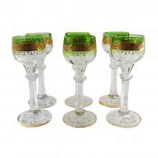 6 wine glasses with gold and Relief Translucent mail, signed Moser