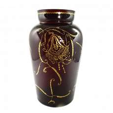 Gr. Vase from ruby-red glass with gold painting, Bernhardine Bayerl around 1921