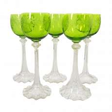1. from 5.wine-glass with Waves edge, green Kuppa with ornamental limestone, Jos