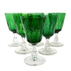 6 South wine glasses with dark green Kuppa, Villeroy & Boch, 2nd half of the 19t
