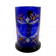 Cobalt blue beer jug with cartouche & floral decor, Bavarian Forest, 2 Hft 19.Jh