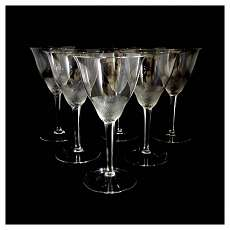 6 Stemm glasses of colorless glass with stone cut decor, Moser, series Llyod