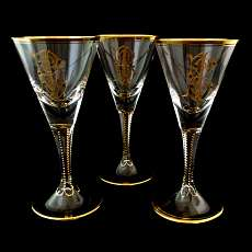 1. of 3 Madeira glasses with polishing gold order, Josephinenhütte, A. Gerlach