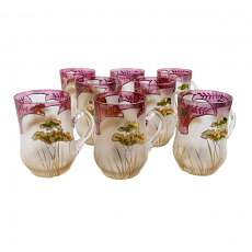 1. von 8. Art noveau mug with floral gold and transparent painting