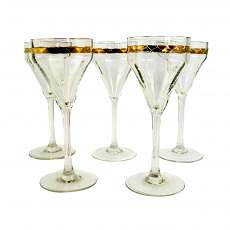 stem glasses with surrounding gilded decor, F. by Poschinger around 1905-10.