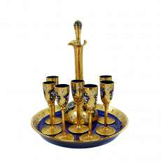 9 piece art nouveau liqueur set on tray, probably Moser around 1900-10