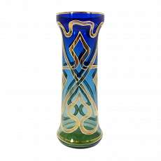 Nouveau vase green / blue gradient with polish gold painting, Bavarian Forest