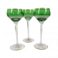 1. of 3. Stem glass with green overlay & wedge cut decoration, Saint Louis aroun