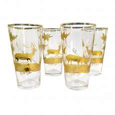 4 champagne cups made of colorless glass with gilded, hunting decor. Bavarian W
