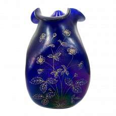 Art Nouveau vase with relief enamel, decor bronze Cyprus, Josephine hut around 1