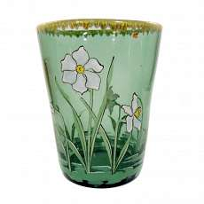 Green glass jar vase with floral enamel painting, Neuwelt around 1900