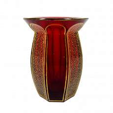 Small gold ruby lead crystal vase with gold painting and worm line, Josephi