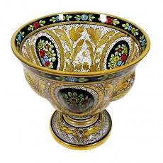 Foot bowl with transparent and gold painting, Julius Mühlhaus in Haida