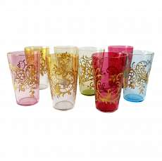 1. of 8. Champagne cups in colored glass with gold relief painting, Josephinenhü
