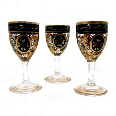 3 liqueur glasses with transparent and gold painting, Julius Mühlhaus in Haida