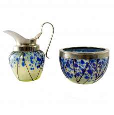 Pot and sugar bowl made of opaline glass with crumb melts, glass factory Elisabe