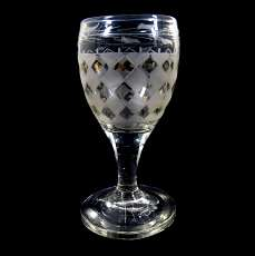 Shot glass of colorless glass with diamond pattern, Bohemia, 1st half of the 19t