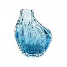 Small vase in light blue, strongly ribbed glass, Seguso Vetri d`Arte