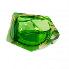 Multi-faceted ashtray with green inner catch and yellow interlayer