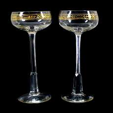 1. of 2. stem glass made of colorless glass with gold decoration, Theresienthal,