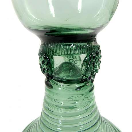 2  Romans of green glass with laid berries, German, end 18.Jh.