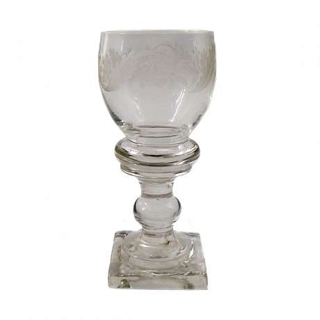 1  Wine glass with square plinth, the end of the 18th century