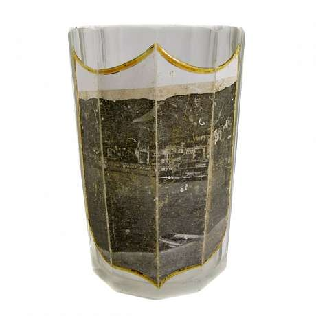 1  Facetted view glass with embleted coat of arms & lithographed view of the Rhine